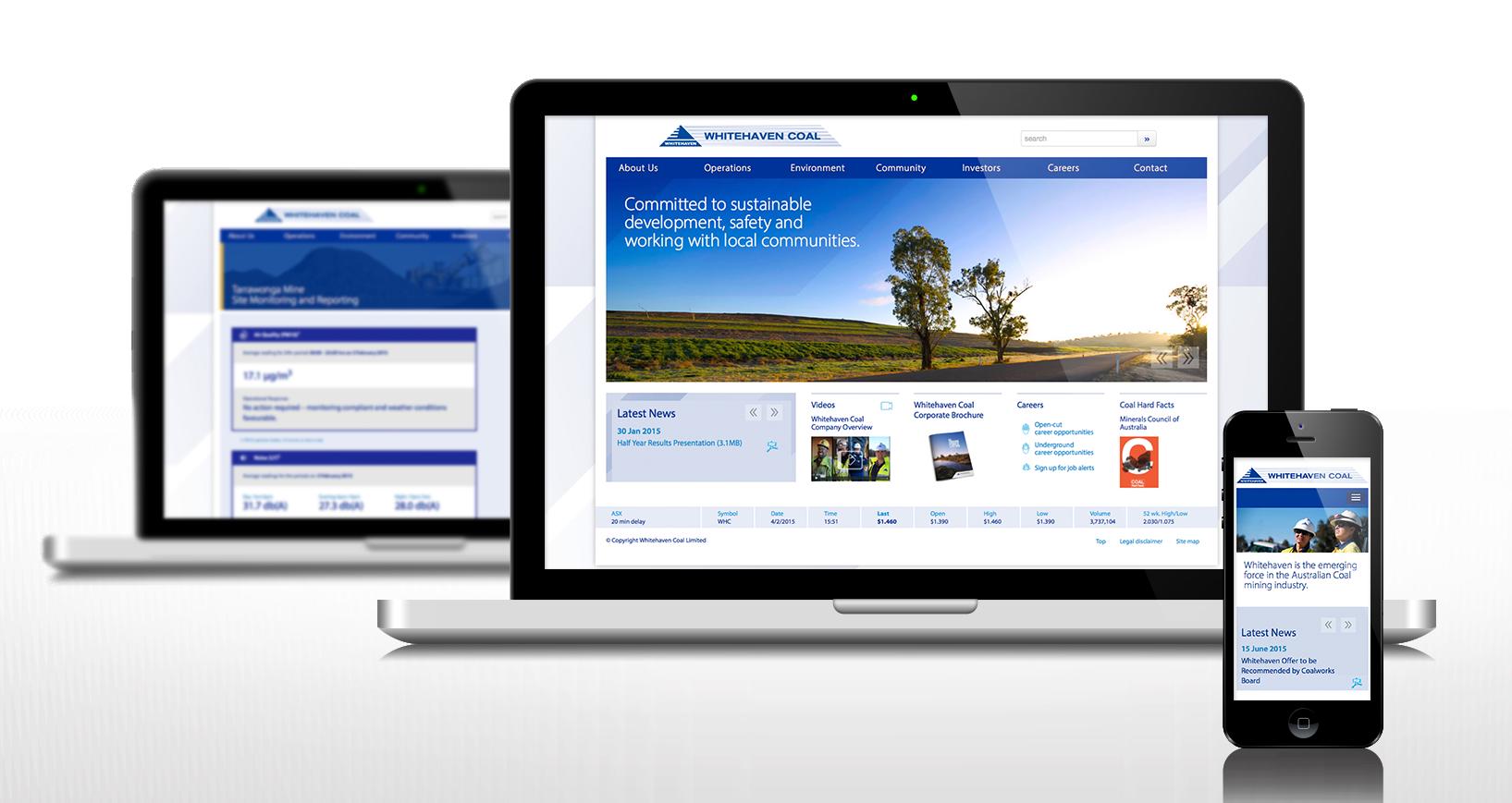 Web site design, domain management, database development,web site build and deploy, custom CMS, web site management.   www.whitehavencoal.com.au