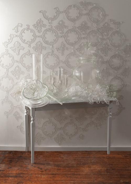 "Cut Table,2014, 80"" x 72"" x 26"", glass, wood, paint, adhesive, photo credit: Jason Houge"
