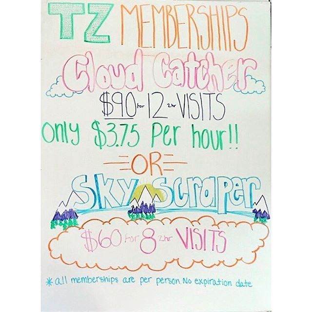 **LIMITED TIME ONLY** Buy one get one FREE of our Cloud Catcher (24 hours of jumping) or Skyscraper Memberships (16 hours of jumping)! They have no expiration date and it's PERFECT for Summer time when you need a cool, air conditioned place to take your friends and family! (Memberships are per person only)  #trampolinezone #BOGOFREE#fun #family #summer