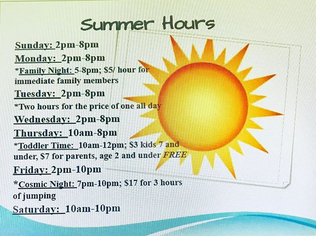 Summer hours have began at Trampoline Zone! We will no longer have Toddler Time on Mondays due to inactivity but come to our regularly schedule Thursday Toddler Time from 10am to 12pm to get discounted jump time for parents and kids 7 years and under! #summer #fun #trampolinezone #toddlertime