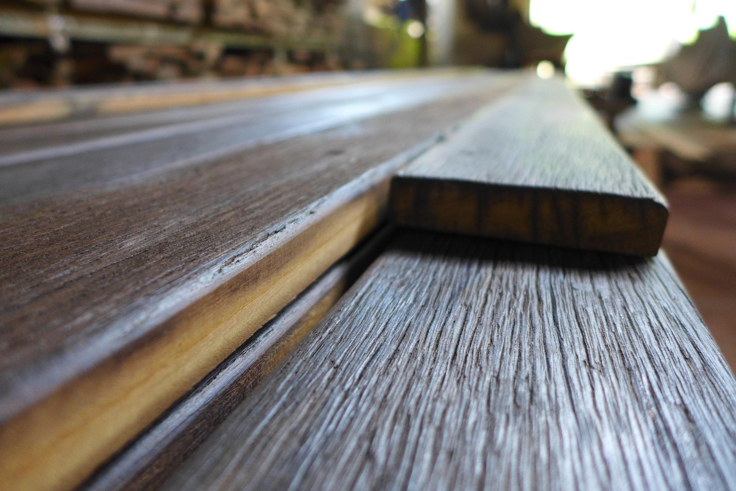 Rustic decking reclaimed from a bridge in Kalimantan timur