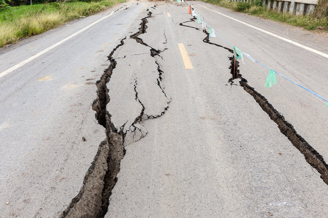 Earthquake damaged road