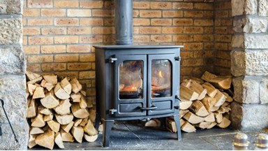Wood stove in action!