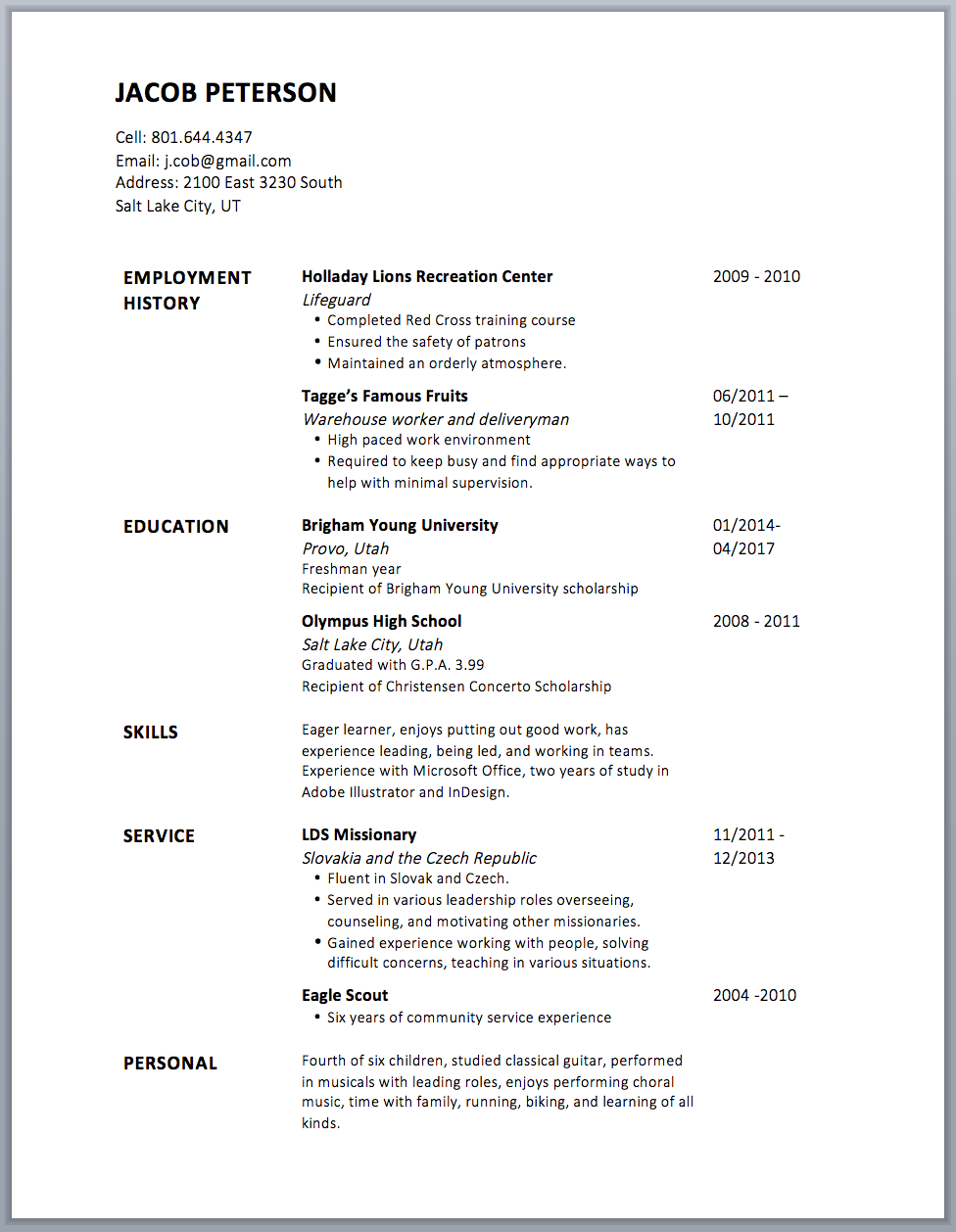 This is what the resume looks like without borders. Pretty nice, huh?