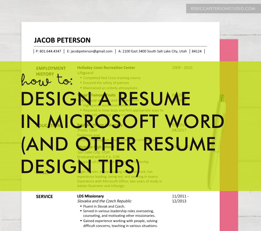 EASY resume design tips for non graphic designers! //rebeccapetersonstudio.com//