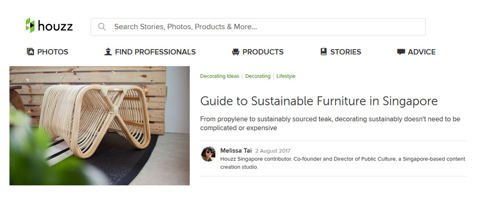 "Houzz ""Guide to Sustainable Furniture in Singapore"" - 2 Aug 2017"