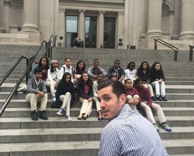 Principal Gassetto with students from M.S. 343 at the Metropolitan Museum of Art