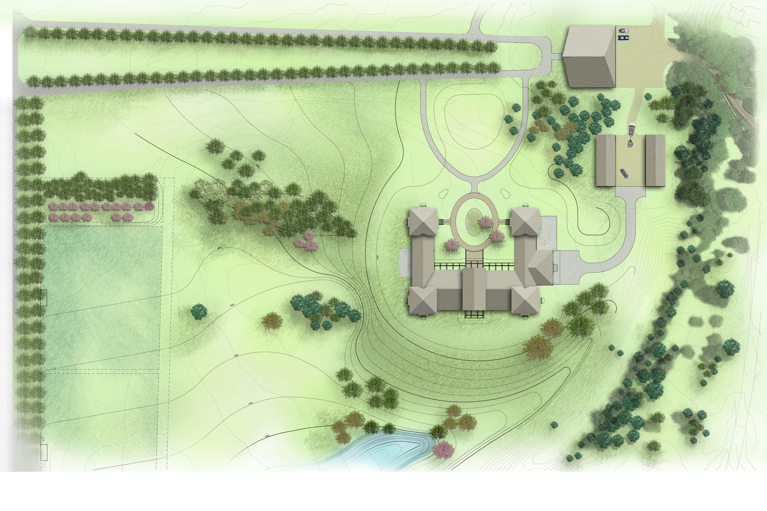 Country Estate Plan View Rendering and Design