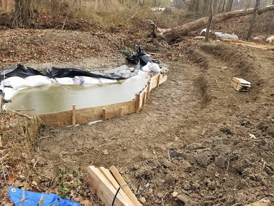Preparation for stream bank erosion control