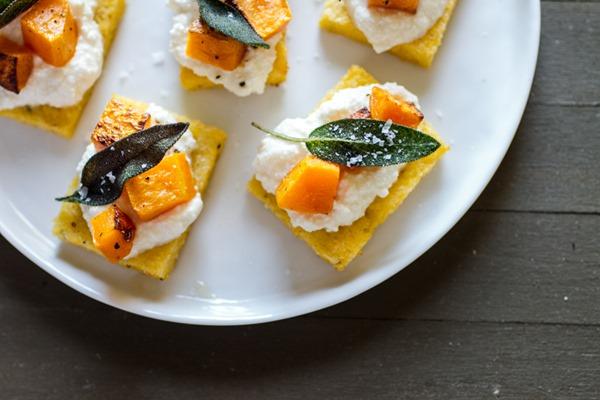 Polenta Crostini w/ Butternut Squash, Polenta & Sage from Edible Perspective