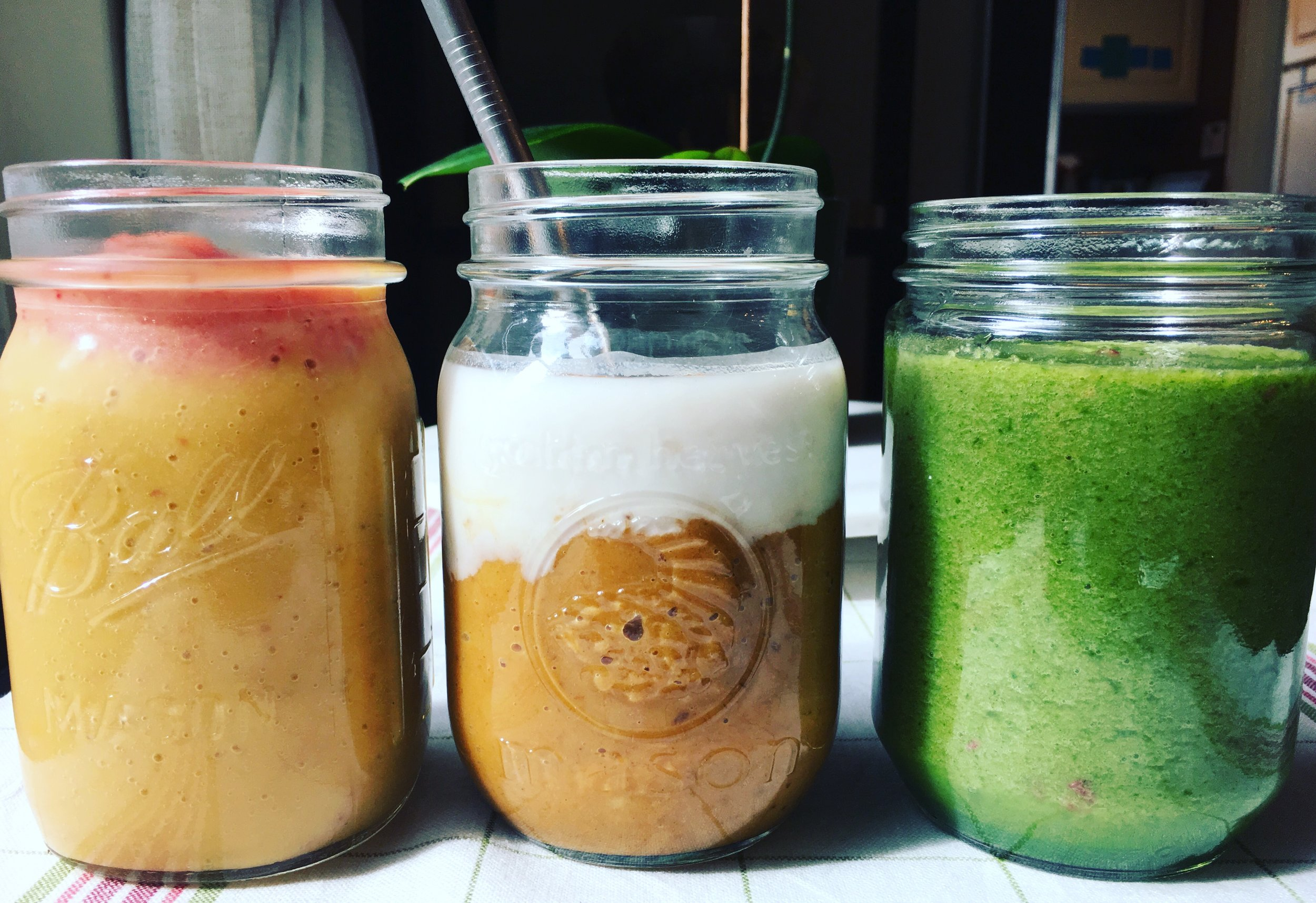 From left to right: Fall Sunset Smoothie, Pumpkin Pie Smoothie, Autumn Greens Smoothie