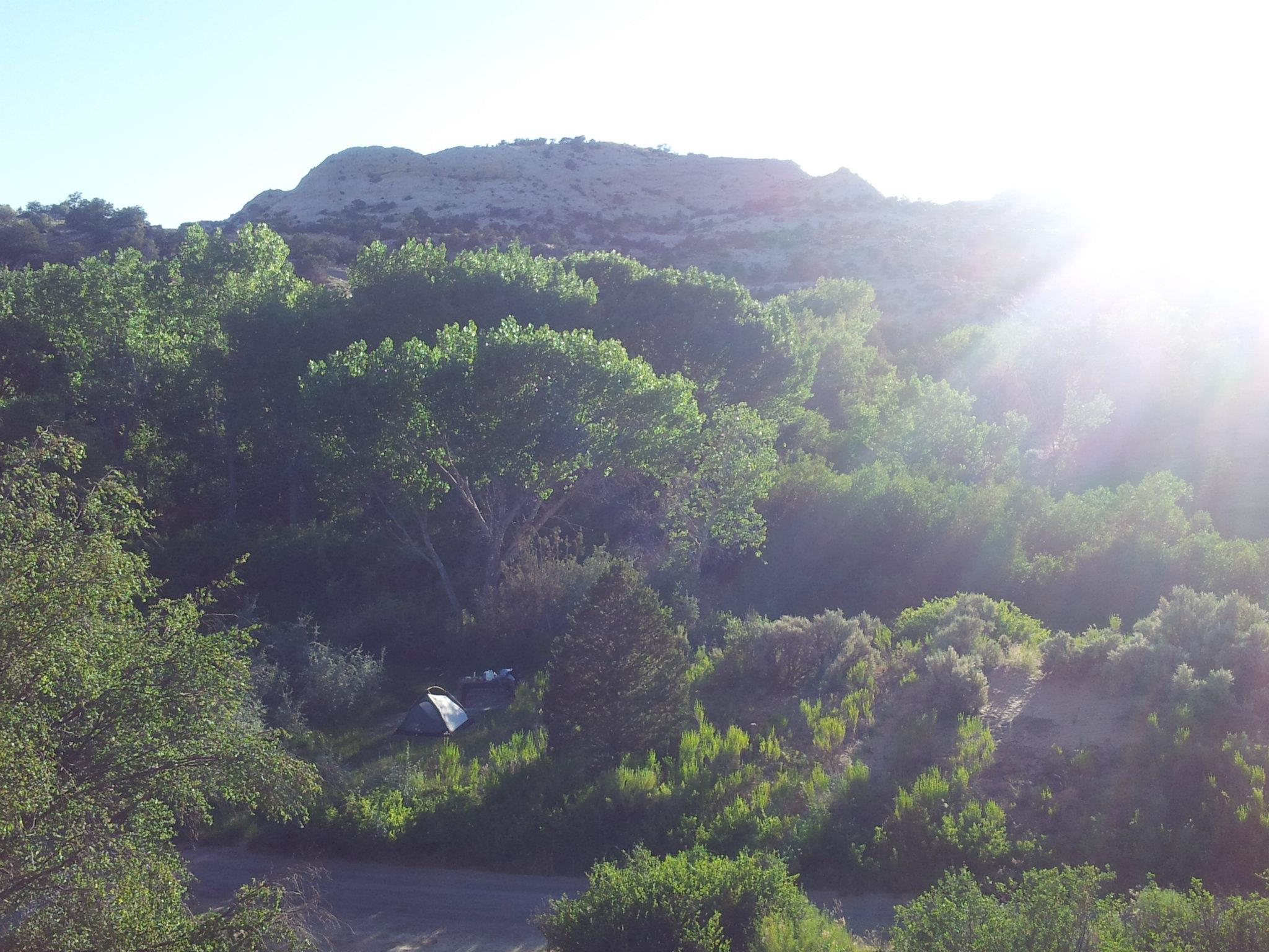 Our camp spot from a rock ledge we climbed up
