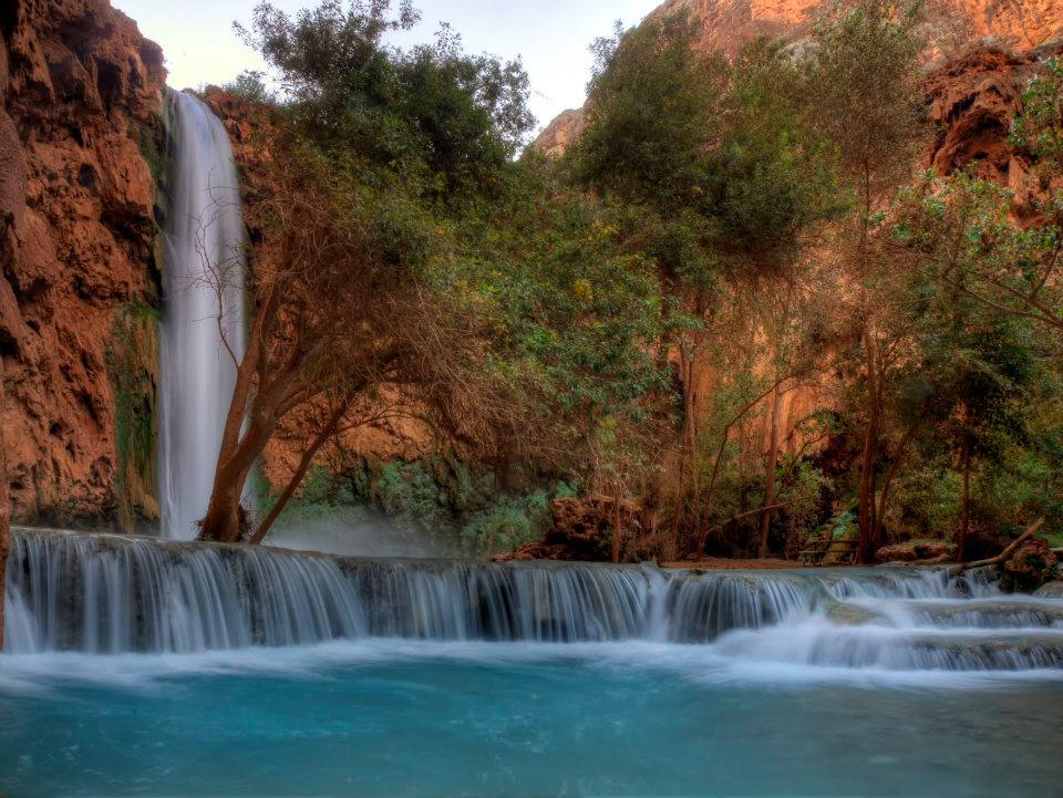 Mooney Falls and the mini cascades it creates downstream