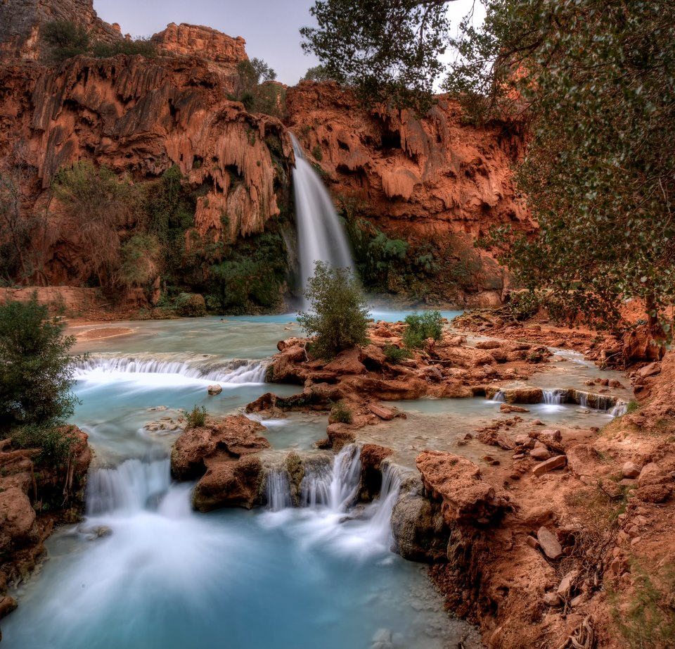 A view of Havasu Falls and the pools it created
