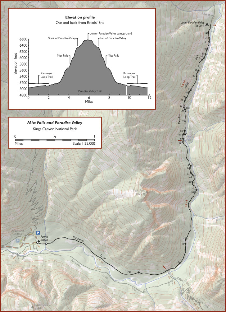 Trail map to Lower Paradise Valley from Redwoodhikes.com