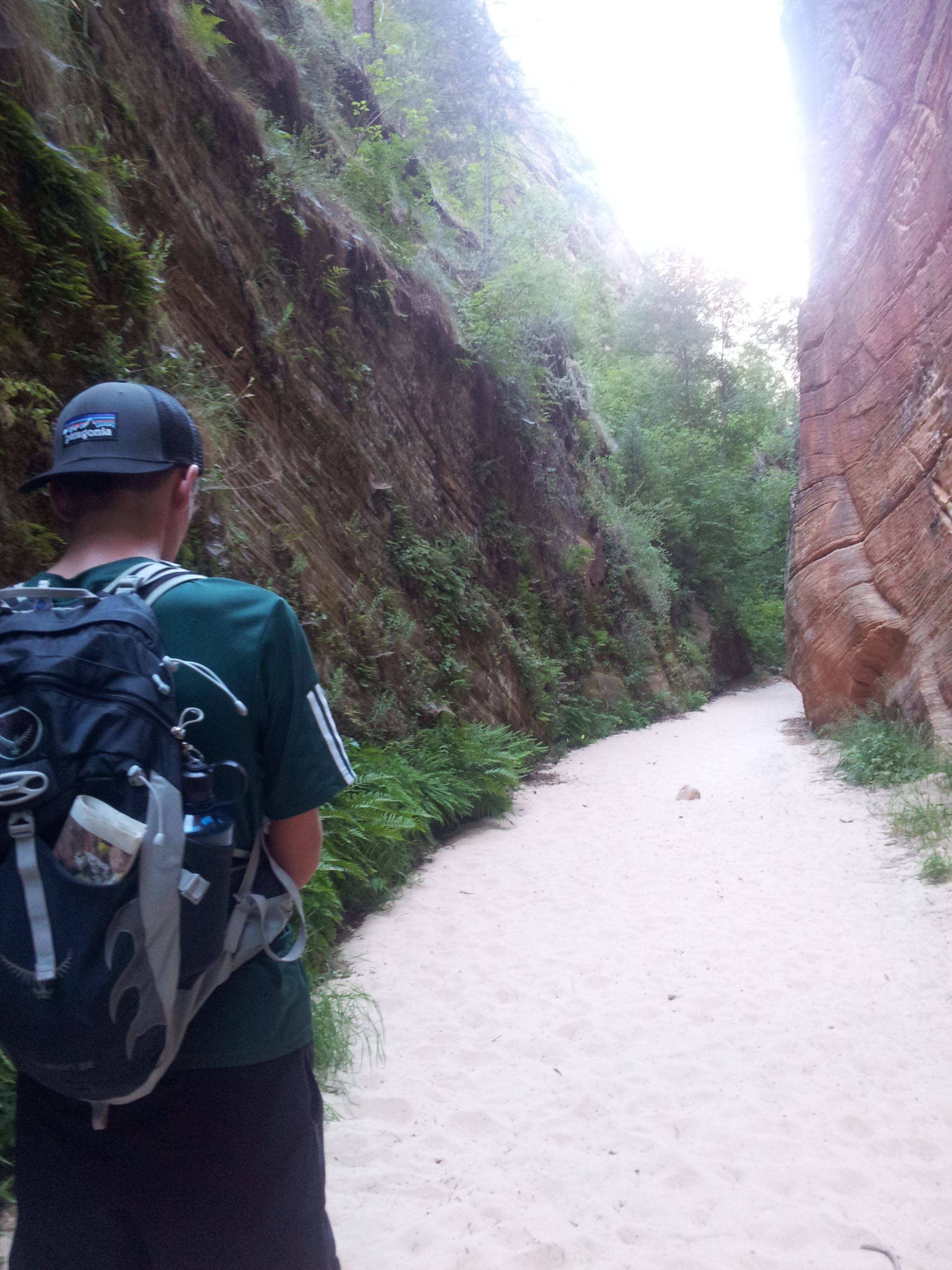 Entering the sandy canyon