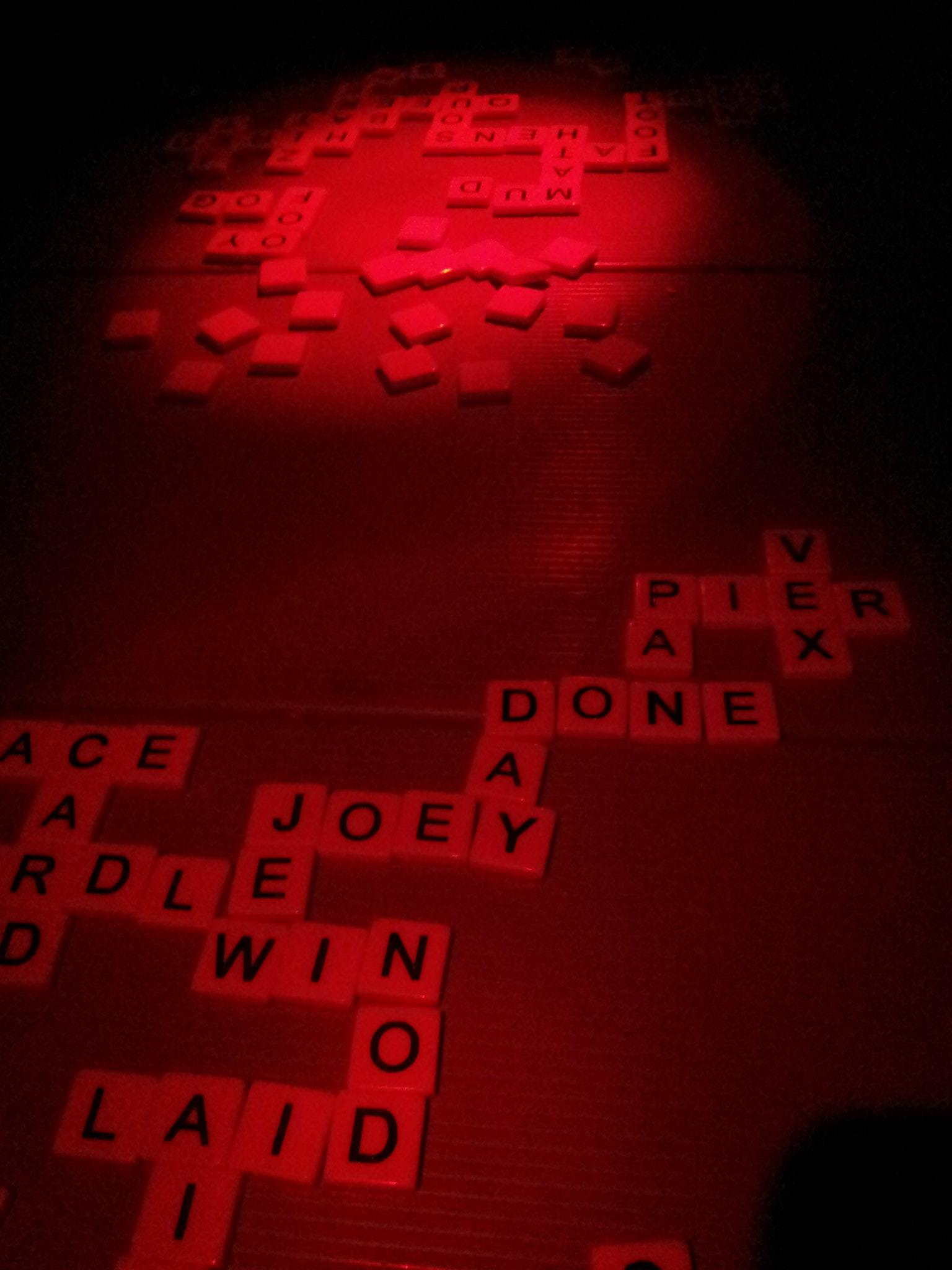 Our nightly entertainment of bananagrams