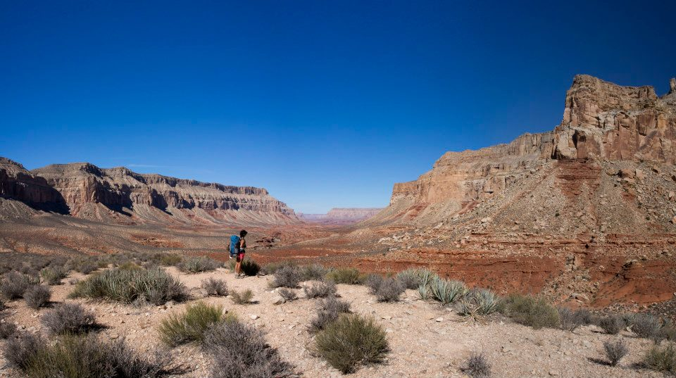 The view of the canyon on the hike down after the steep switchbacks