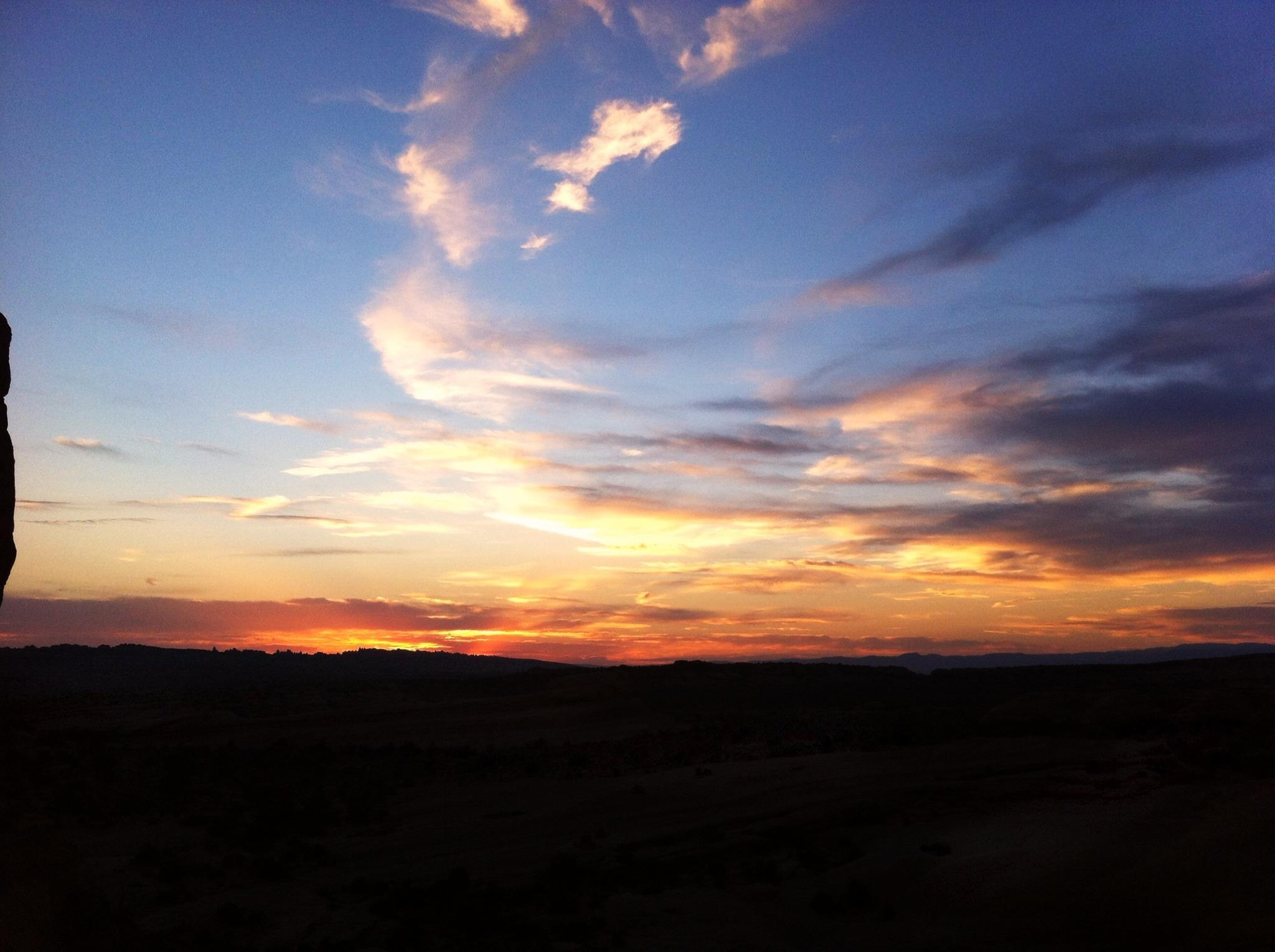 Beautiful sunset from the hike up to Delicate Arch