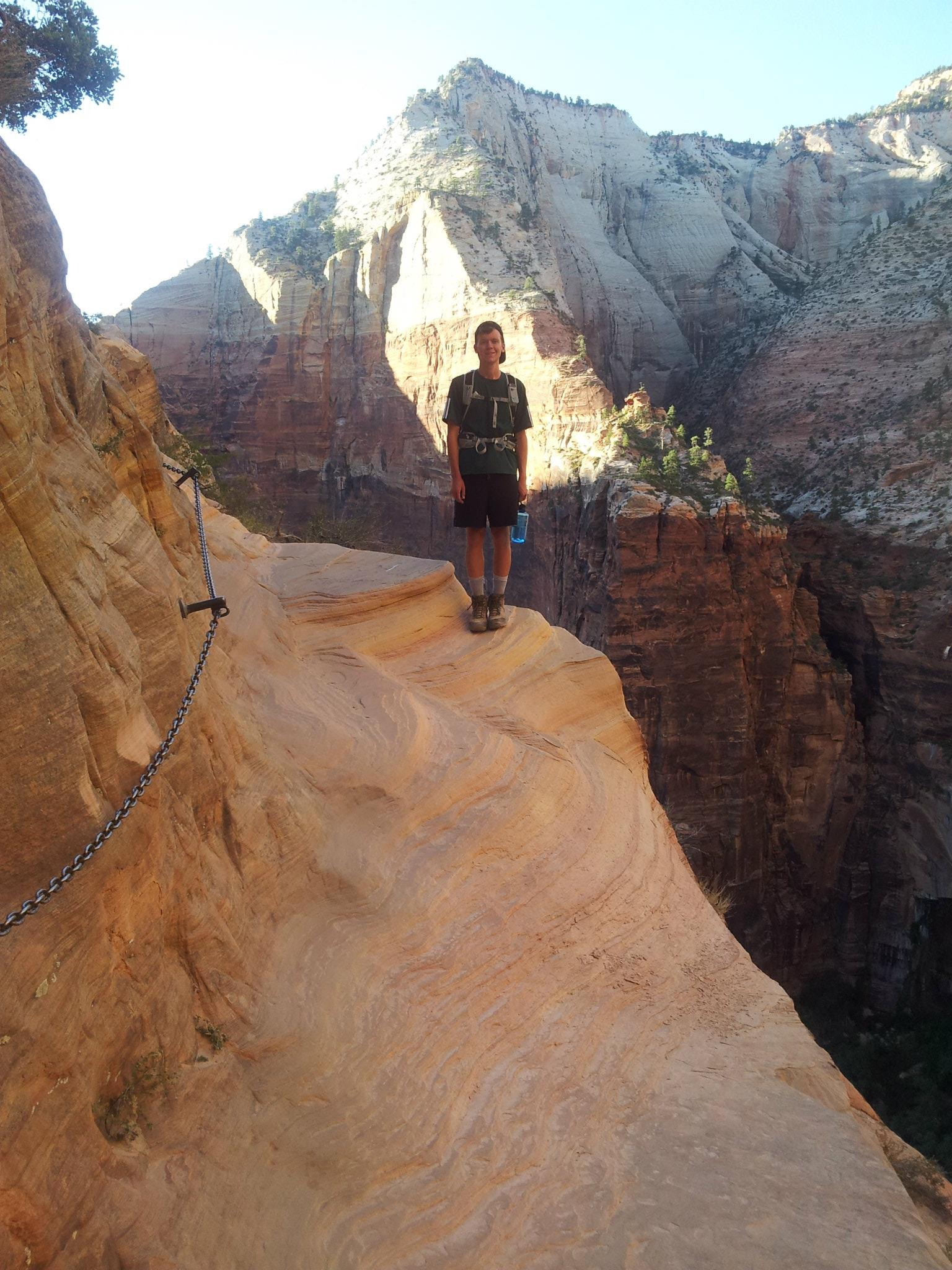 Clark standing precariously close to the ledge... not for those scared of heights!