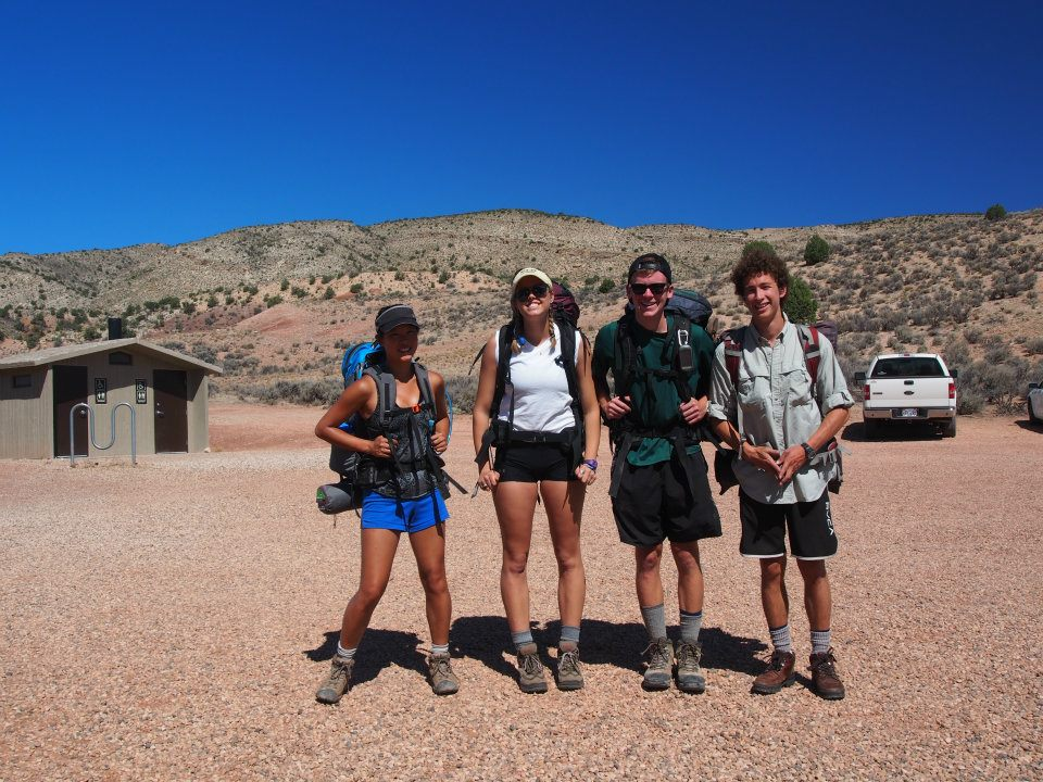 The gang at the trailhead. It is HOT.