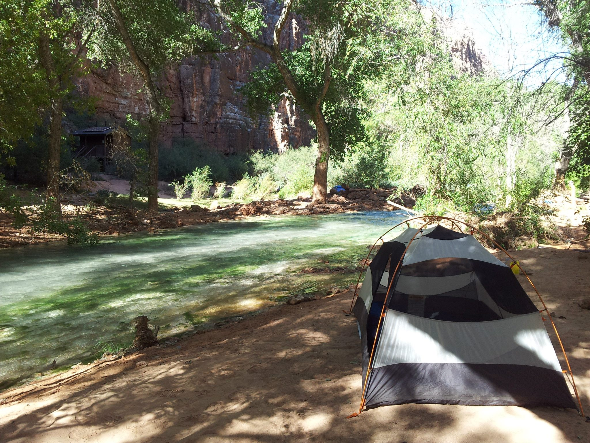 Our second night's camp spot right by one of the turquoise rivers that flow through the campgrounds