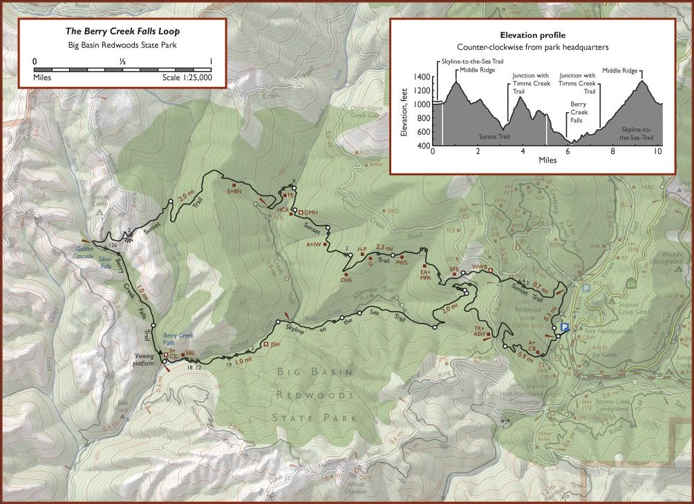 Map of Berry Creek Falls