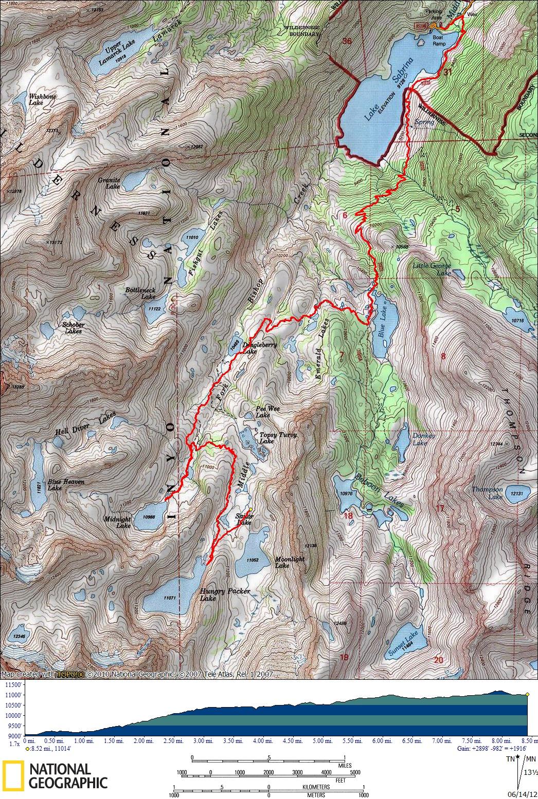 Sabrina basin map from CaliTrails