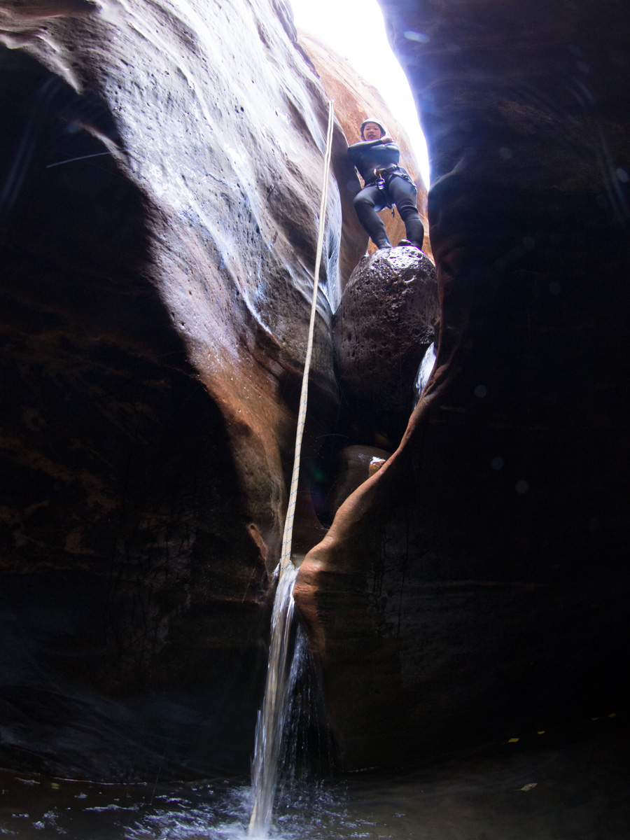 Short rappel down the waterfall in October
