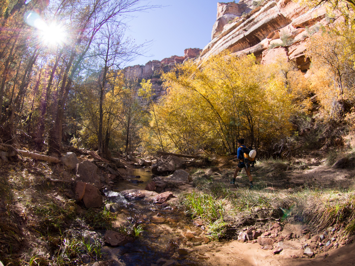 The canyon gradually opens up, and you just have to follow the river upstream