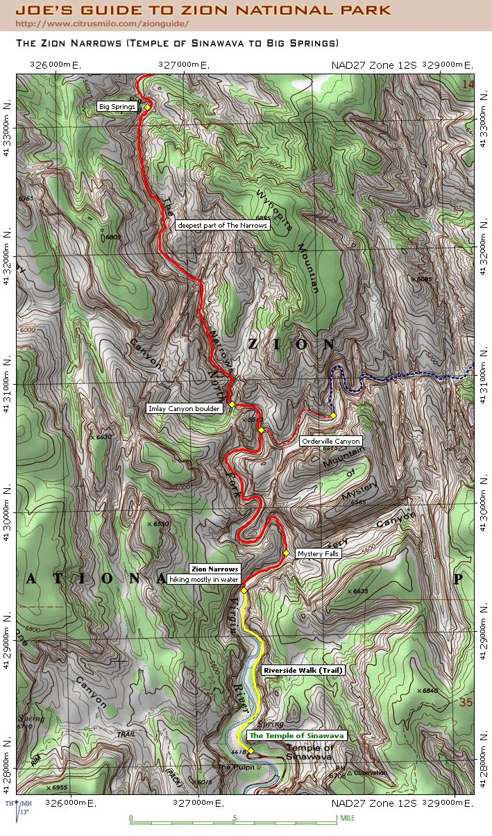 Map from Joe's Guide to Zion National Park