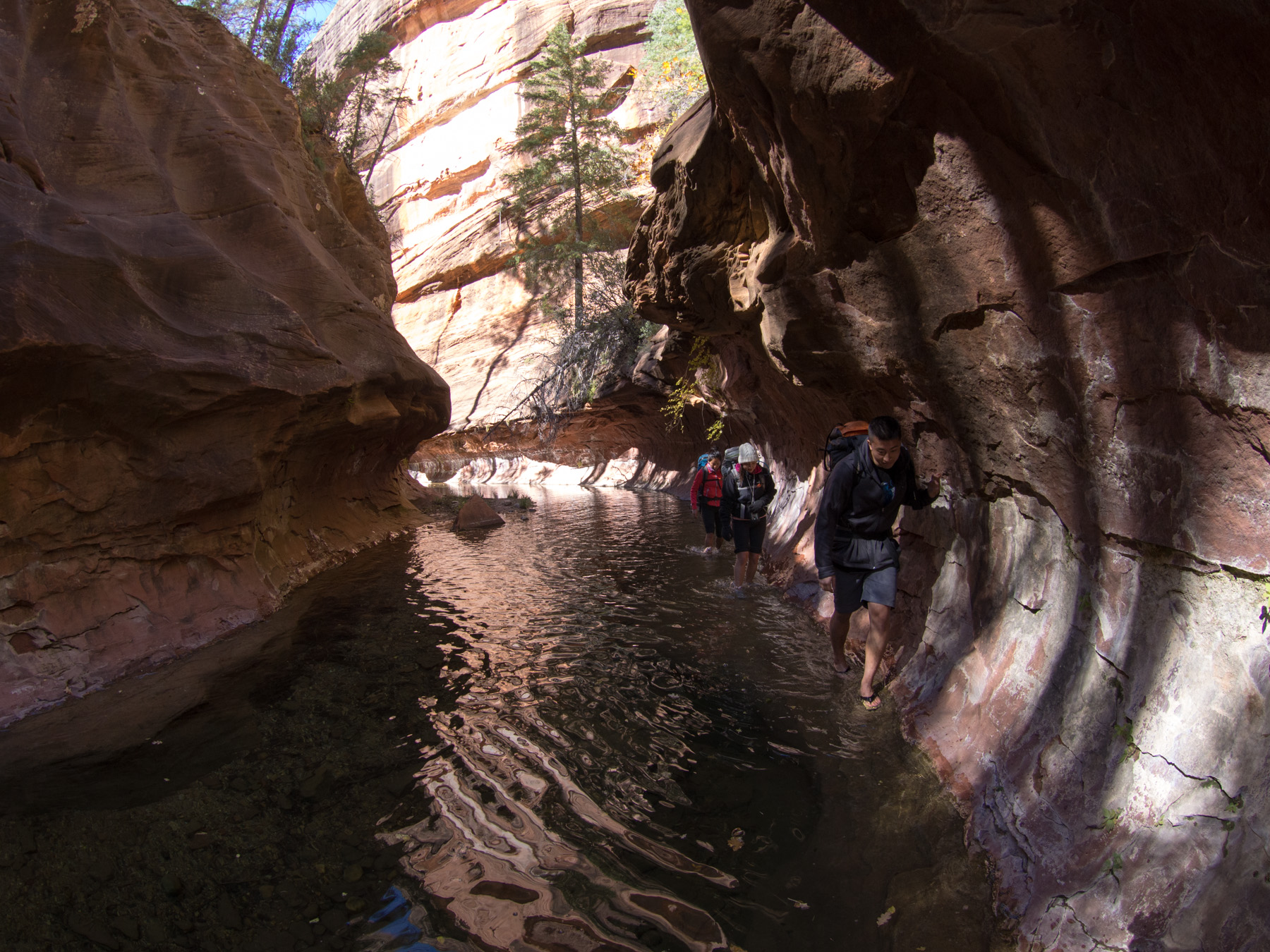 Leaving all of the other hikers behind as we waded up the frigid water