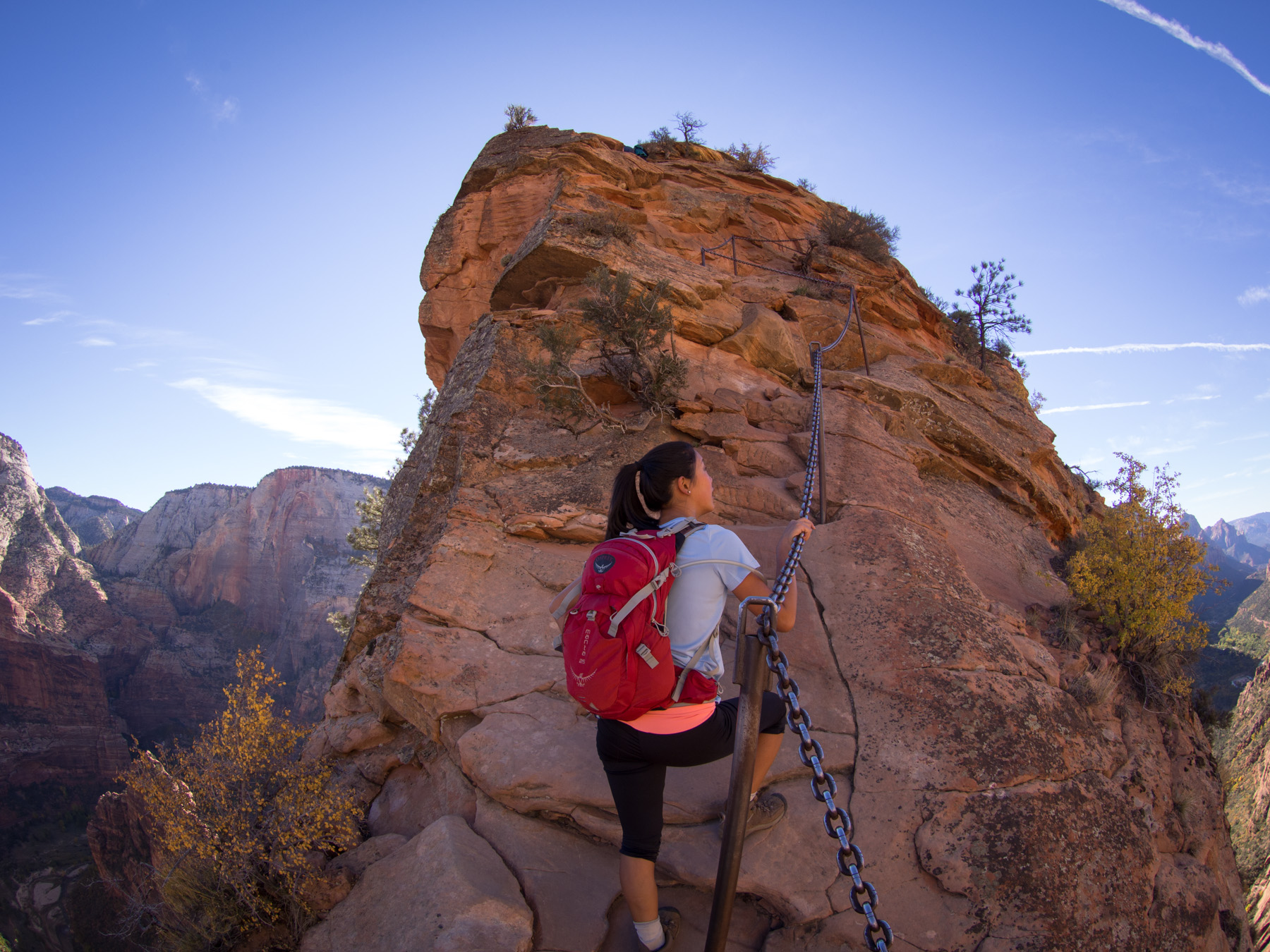 You can get an idea of what the trail is like , this photo really shows the the winding chains leading up the rock