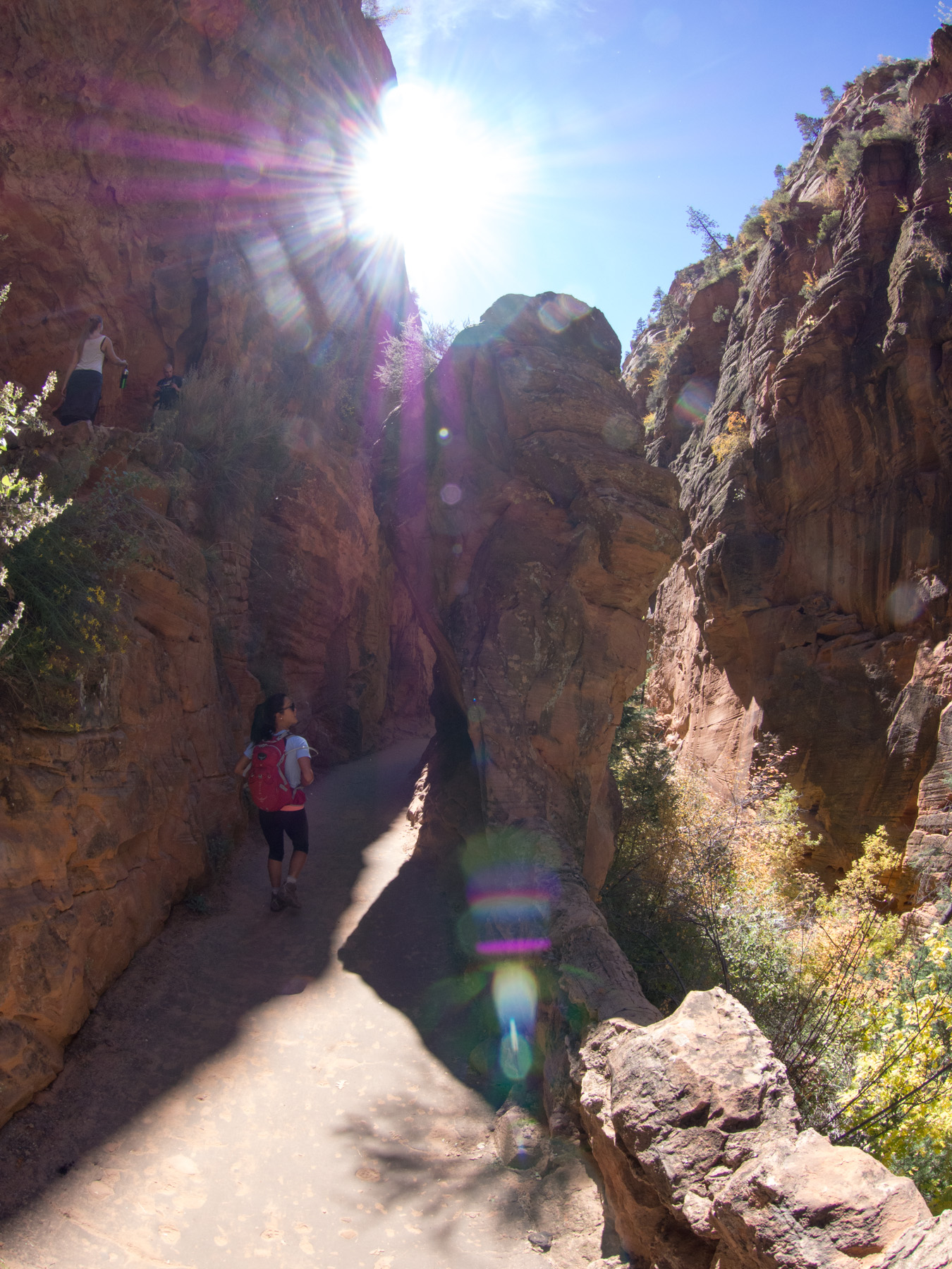 This portion of the trail winds through a canyon in the rear of the mountain