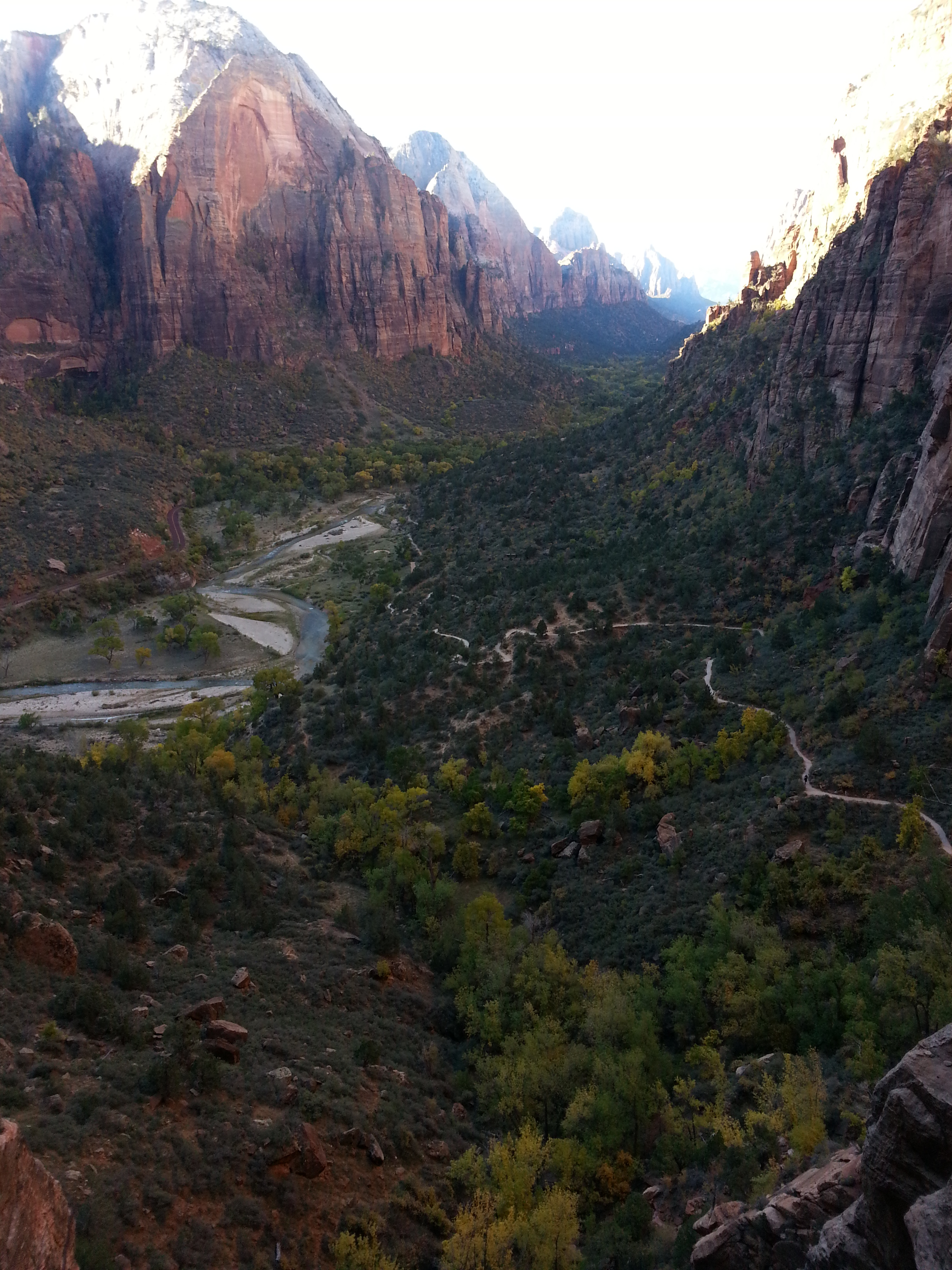 The view of the trail and canyon before the sun rose