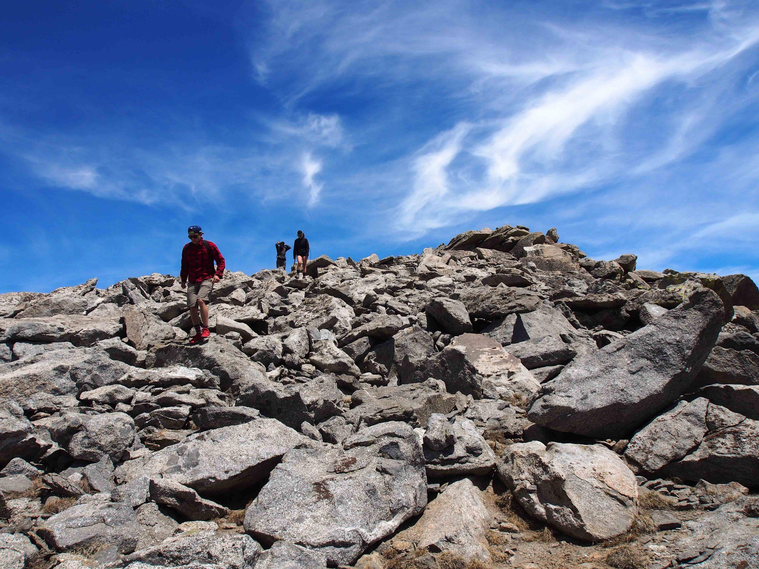 Hiking back down the boulder pile