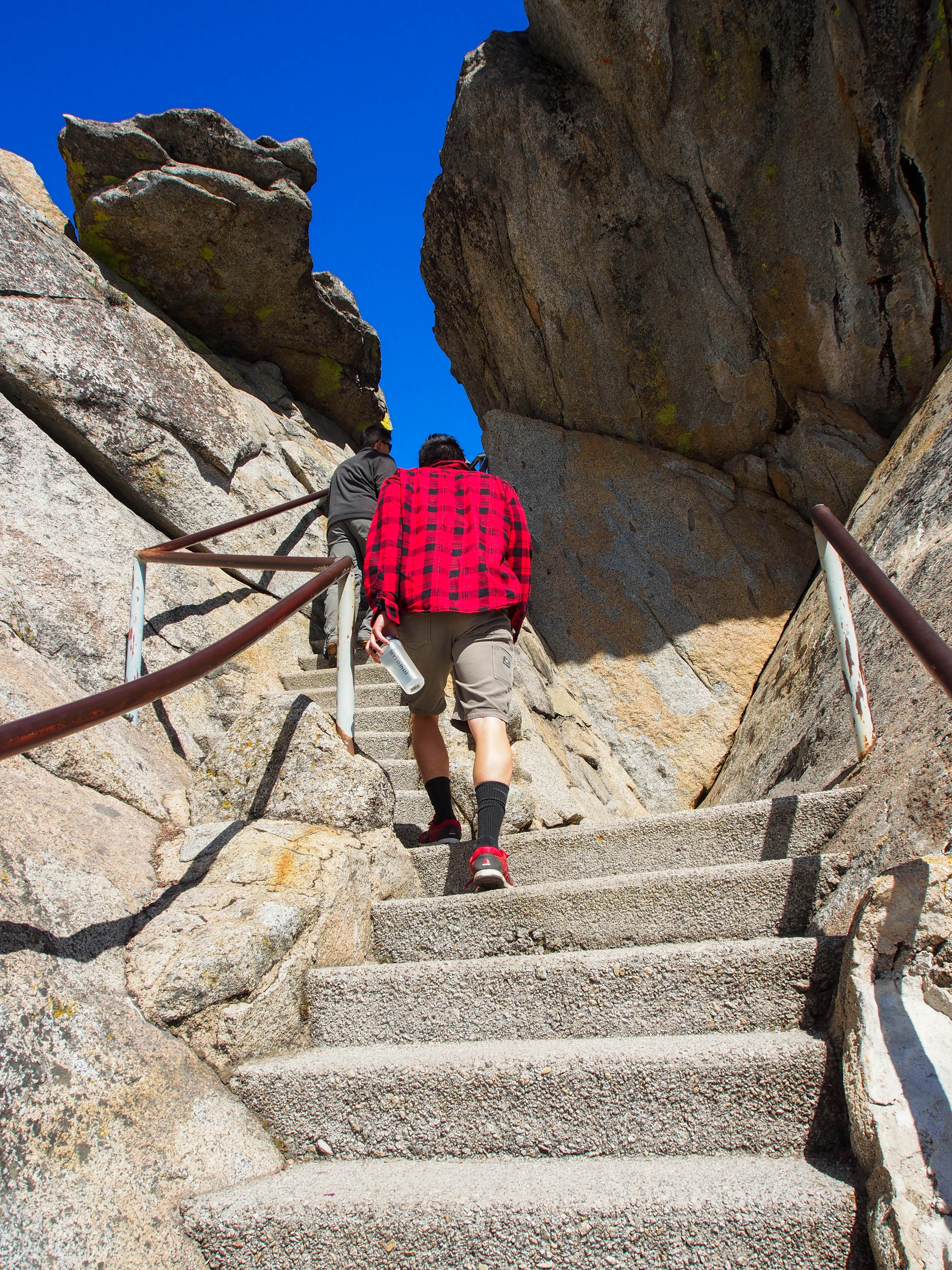 The steep steps are well maintained and not slippery