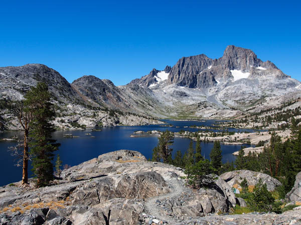 The view of Garnet Lake before descending the switchbacks