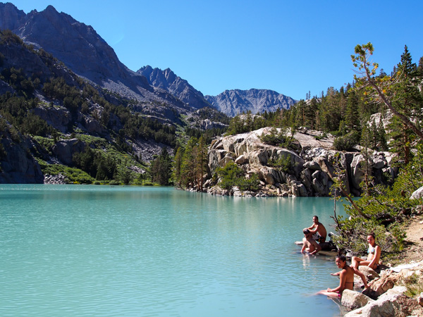 Soaking in the milky turquoise water characteristic of glacial lakes