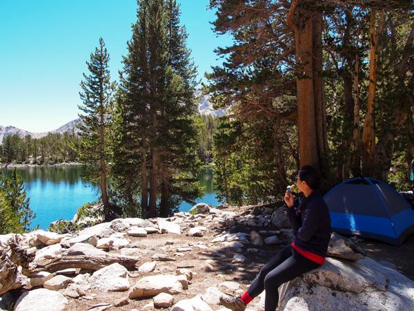 Elaine enjoying the reflection of Summit Lake