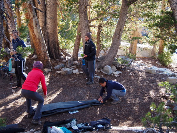 Packing up camp for our hike out
