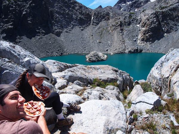 Eating lunch above the unique lake.  Click here for my favorite backpacking lunches