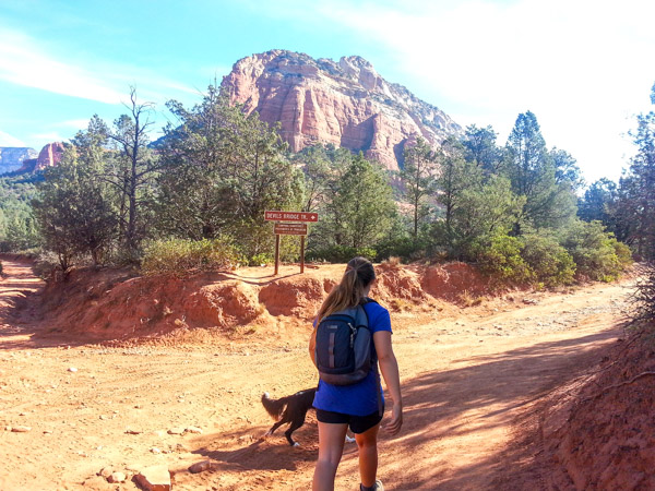 Headed towards the red rock mountains, following the signs for the Devils Bridge Trail