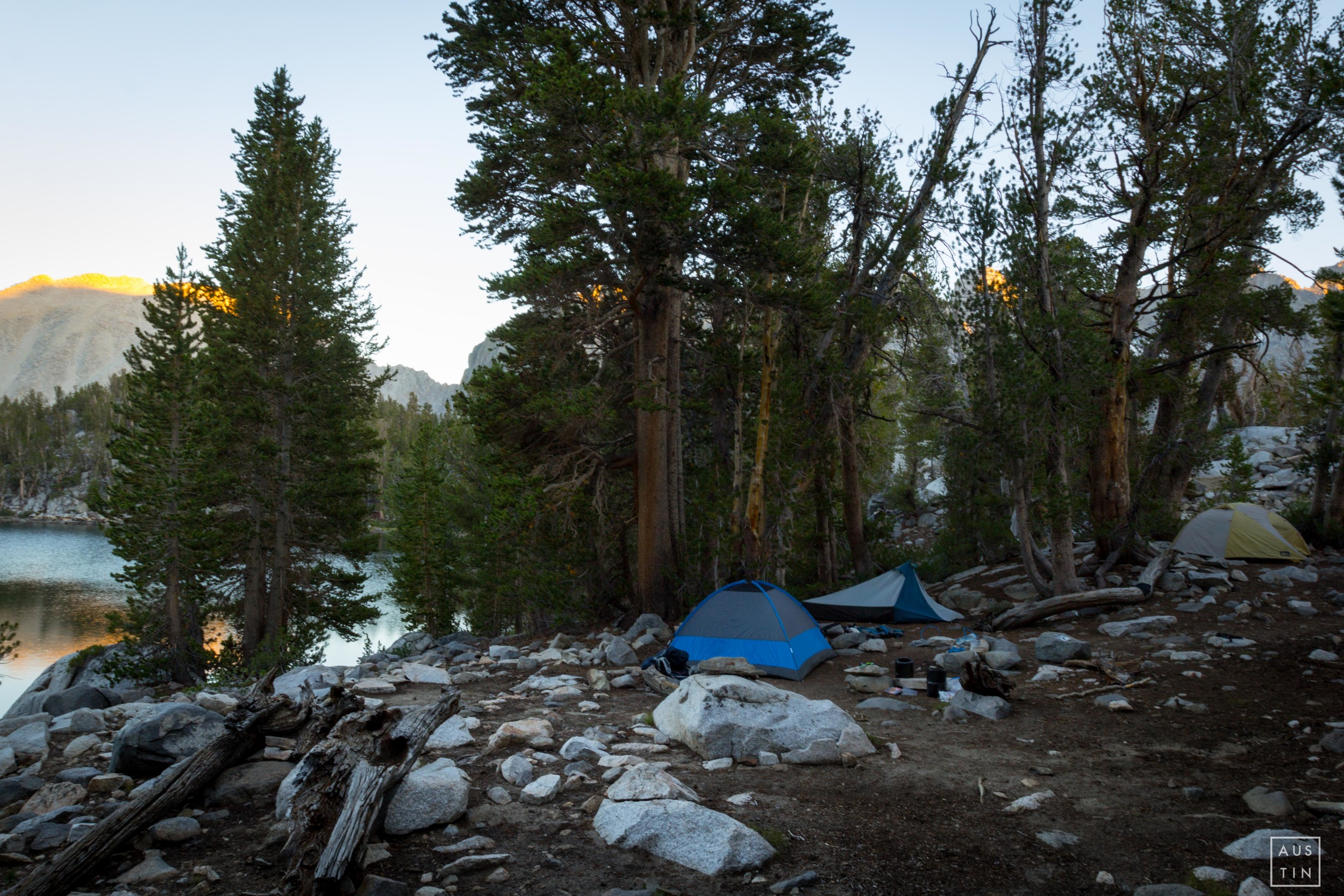 Our campspot at Summit Lake was perfect for 3 tents