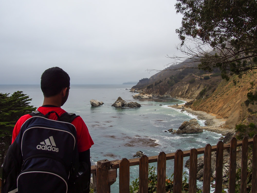 Reaching the end of the trail and looking north up the CA coastline
