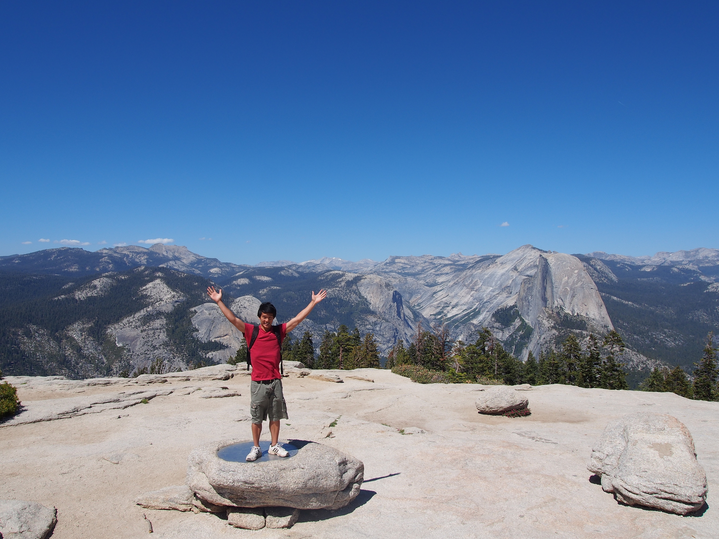 From left to right you can see: Tanaya Peak, Cathedral Peak, Cloud's Rest, and Half Dome