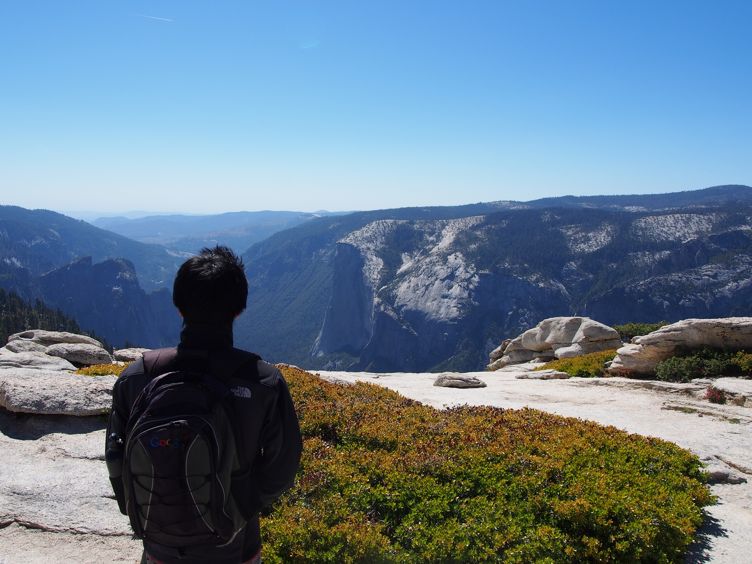 Eric looking down at the other end of Yosemite Valley