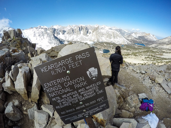 At 11,760 feet before the trail drops into SEKI