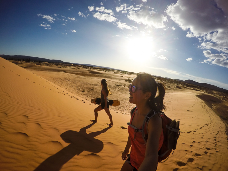 Heading up to the tallest dune we could find