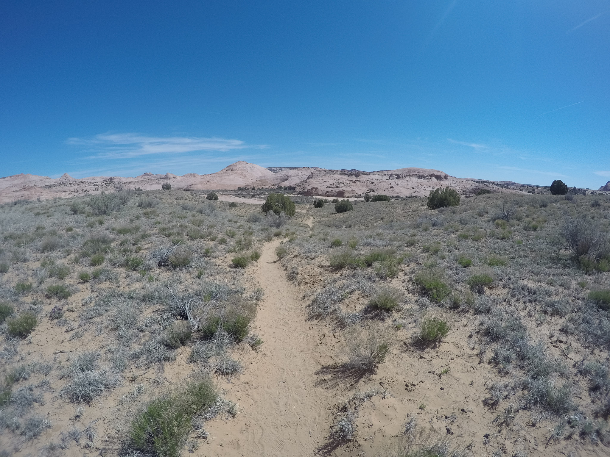 The trail winding through desert country - what most of the first half of the trail looks lie